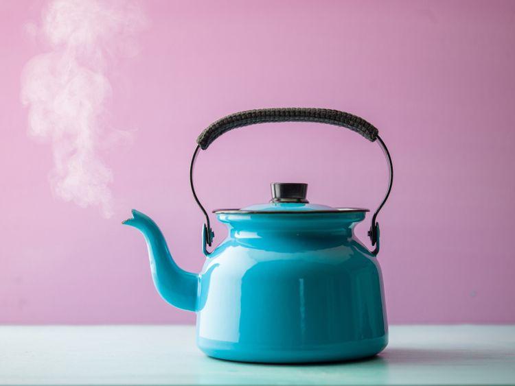Modrý nerezový čajník